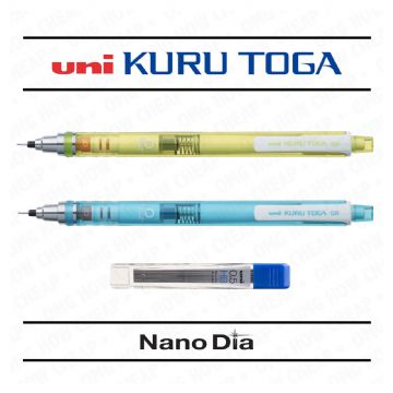 2 x UNI KURU TOGA SELF SHARPENING MECHANICAL PENCIL -BLUE & GREEN BARREL + LEADS